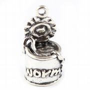 Can Of Worms 3D Sterling Silver Charm - Fishing / Angling